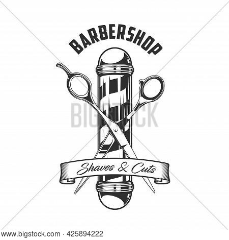 Barbershop Pole And Scissors Icon, Vector Vintage Emblem For Shaves And Cuts Service For Men. Haircu