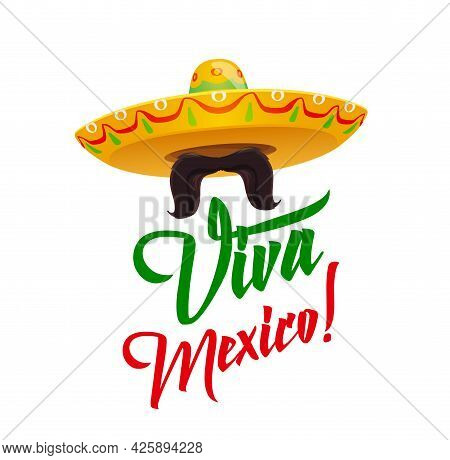 Viva Mexico, Sombrero With Mustaches, Vector Mexican Holiday Symbolic In Red And Green Flag Colors.