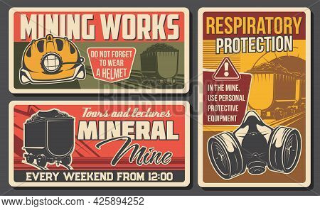 Coal Mining Industry Retro Banners With Vector Underground Mine Pit Tunnel, Miner Helmet Or Hard Hat