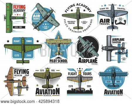 Flight School Vector Icons. Vintage Plane Flying In Sky, Airplane Aviation School And Commercial Pil