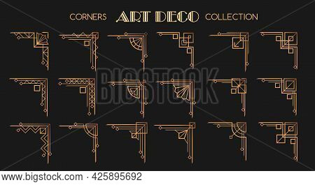 Art Deco Corners. Modern Style Frame Fashion Corner Beauty Collection, 1920s Old Poster Cornering Pa