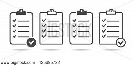 Ticking List Board. Paper Clipboard Checking Icons, Isolated Page Organize Checklist Pictograms, Reg