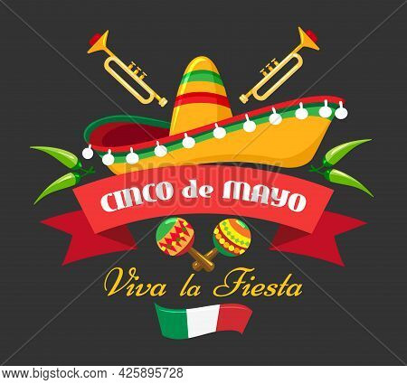 Hispanic Cultural Event Banner. Mexican Fiesta Festival Background, Mexico Cinco De Mayo Cartoon Fly