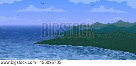 Vector Illustration. Aerial View Of Island Bay In Ocean