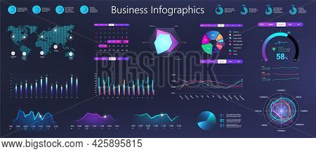 Workflow Graphics, Charts And Diagrams. Dark Gradient Infographic For Business Information Marketing