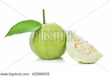 A Guava Fruit Isolated On White Background