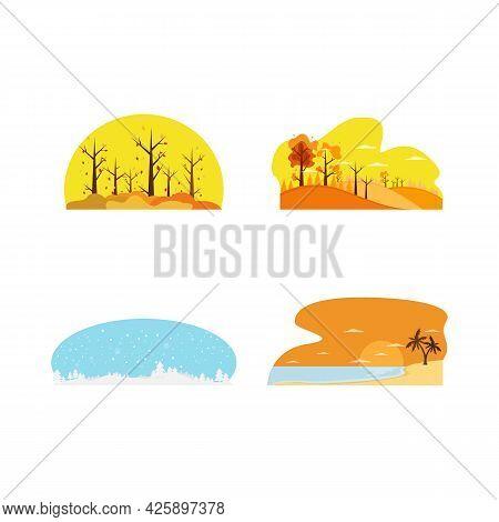 Seasonal Landscape Flat Design Image Vector Set. Beautiful Flat Set With Colourful Seasons For Decor