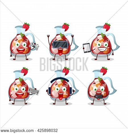 Sangria Cartoon Character Are Playing Games With Various Cute Emoticons