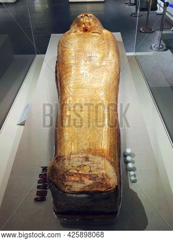 Cairo. Egypt - May 19, 2021: Sarcophagus Of Ancient Egyptian Museum Object In Egyptian Museum At Cai