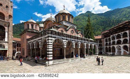 Rila, Bulgaria - July 8: Panoramic View Of The Church In The Famous Rila Monastery. Rila Monastery I
