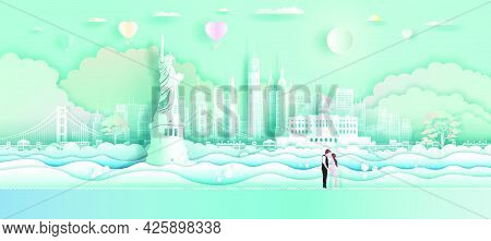 Travel America Landmarks With Love Balloons And Couple In Paper Art,  Origami, Paper Cut Design.trav