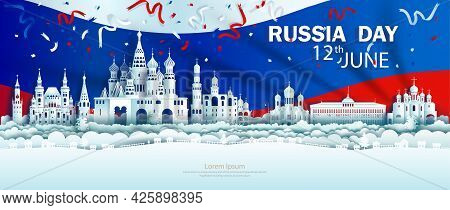 Illustration Anniversary Celebration Independence Russia Day In Background Russia Flag, Travel Landm