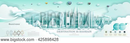 Advertising Travel Brochure Bahrain Top World Modern Skyscraper And Famous City Architecture. Modern