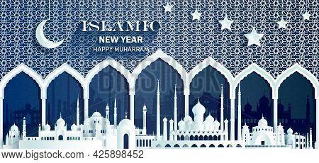 Celebration Anniversary Islamic Happy New Year Of Muslim, Happy New Year Muslim With Pattern Design
