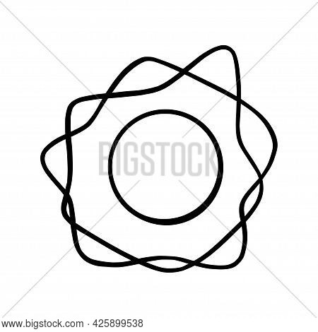 Handdrawn Sun. Shining Sun In Doodle Style. Black And White Vector Illustration Isolated In White Ba