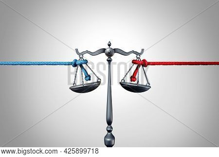 Politics And Law Or Political Legislation Fight As A Left And Right Leaning Rope In A Tug Of War Str