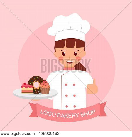 Cute Bakery Chef Girl Smiling Cartoon Holding Strawberry Cake, Chocolate Donut And Cupcake In Flat D
