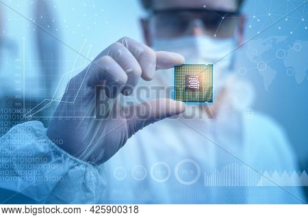 Engineer Man  In Sterile Suit Is Holding Microchip With Symbols In Modern Design Factory  , Futurist