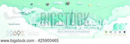 Travel Company Advertising Illustration To Landmarks Pakistan Top World Famous. For Brochure, Advert