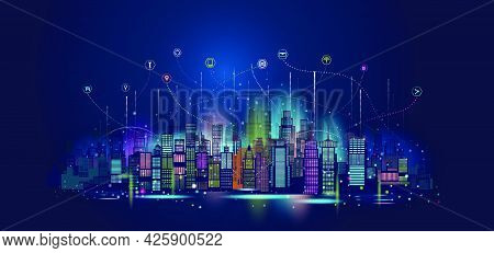 Vector Illustration Urban Architecture Technology Wireless Network Communication Smart City With Sky