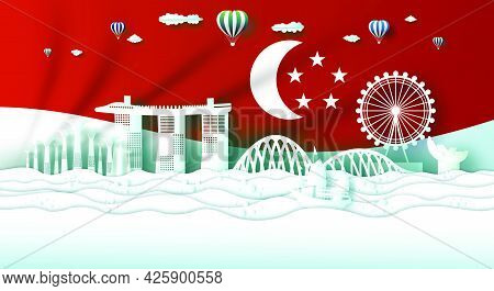 Travel Singapore Top World Famous Modern City And Central Architecture. Tour Landmark Of Singapore,