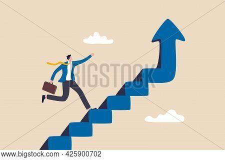 Improvement Or Career Growth, Stairway To Success, Growing Income Or Improve Skill To Achieve Busine