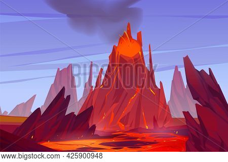 Volcanic Eruption Illustration. Volcano Erupts With Hot Lava, Fire And Clouds Of Smoke, Ash And Gase