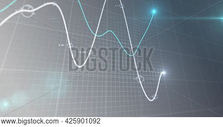 Image of financial data processing, two lines with glowing spot on grid. global business finance concept digitally generated image.