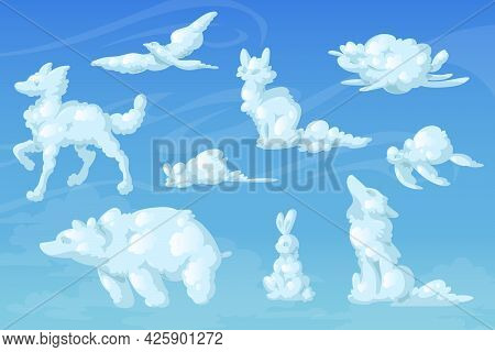 White Clouds In Shape Of Cute Animals. Fox, Dog, Bear, Little Mouse, Turtle, Wolf, Bird And Rabbit S