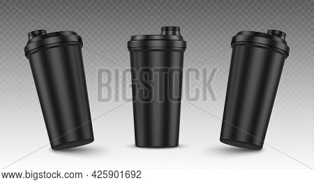 Protein Shaker, Cup For Sports Nutrition, Gainer Or Whey Shake Drink Front View. Plastic Black Bottl