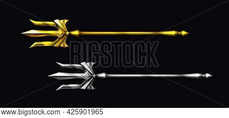 Gold And Silver Trident, Devil Pitchfork Isolated On Black Background. Vector Realistic Set Of Mytho
