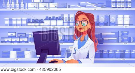 Pharmacist At Counter In Pharmacy With Shelves With Medicines On Background. Vector Drugstore Interi