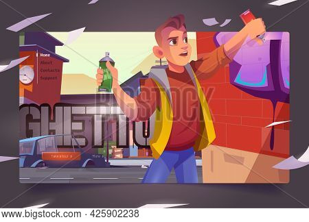 Graffiti Painter In Ghetto Cartoon Landing Page. Boy Teenager Painting On Brick Wall With Aerosol In