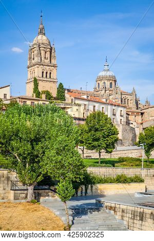 Public garden and Cathedral in Salamanca,  Spain. Cityscape