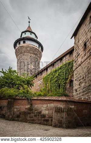 Scenic view with Sinwell tower in Nuremberg Castle, Germany