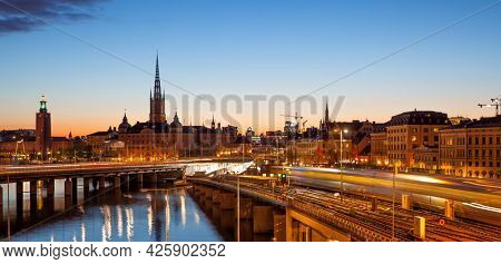 Scenic panoramic view of the Old town of Stockholm (Gamla Stan) at night, Sweden