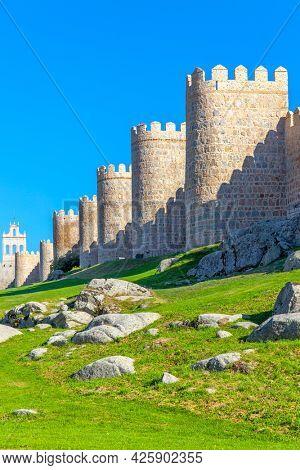 City walls of Avila in Spain