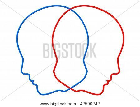 Creativity concept. Contours of two color head on a white background poster