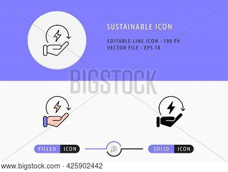 Sustainable Icons Set Editable Stroke Vector Illustration. Energy Power Resource Symbol. Icon Line S