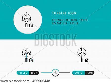 Turbine Icons Set Editable Stroke Vector Illustration. Energy Power Resource Symbol. Icon Line Style