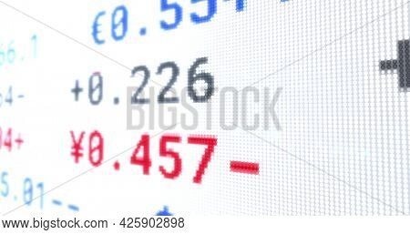 Image of stock exchange display board with numbers changing on white. global business finance concept digitally generated image.