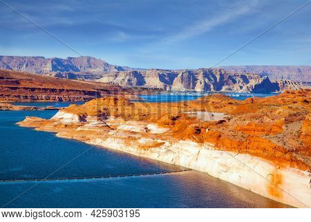 Best journey in life. The largest reservoir in the United States of artificial origin is Lake Powell. Glen Canyon Dam, Arizona, in the Grand Canyon Gorge. Concept of active, ecological and photo