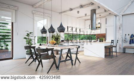 modern kitchen  interior design. 3d concept illustration