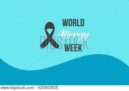 World Allergy Week Typography. Awareness Ribbon For Allergy Awareness Week.