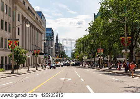Wellington Street View With Walking People In Downtown Of Ottawa. Road Closed For Cars During Canada