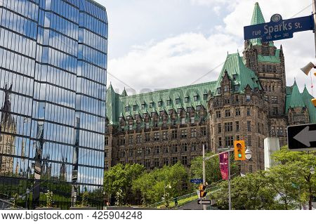 Sparks Street View With Confederation Building Downtown Of Ottawa In Canada.
