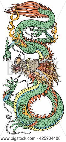 East Asia Dragon. Traditional Chinese Or Japanese Mythological Creature. Tattoo Style Vector Illustr