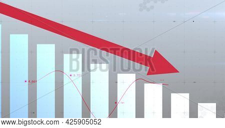 Image of financial data processing with arrow pointing down and statistics. global business finance concept digitally generated image.