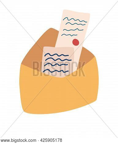 Open Envelope With Letters. Postcards. Mail Envelope With Paper. Love Messages. Correspondence Throu