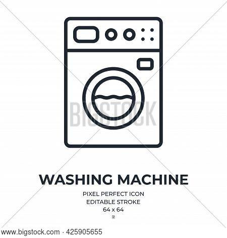 Washing Machine Editable Stroke Outline Icon Isolated On White Background Flat Vector Illustration.
